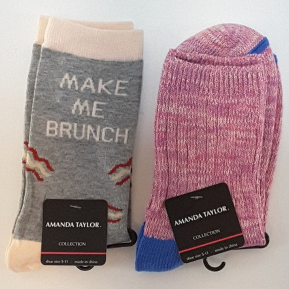 Amanda Taylor Accessories - New With Tag, NWT, MAKE ME BRUNCH, 2 pair socks,